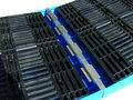 PE-bodembeschermbak type BWPS-PE 300 - ca. 2610x895x150 mm (lxbxh)/max. 4 vaten van 200 liter/opvangvolume 300 liter/draagkracht 2000 kg/constructie van robuust polyethyleen