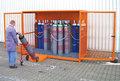 Gasflessen-container type GFC-1 - ca. 3060x1360x2290 mm (lxbxh)/max. 48 gasflessen Ø 230 mm/met roosterbodem (draagkracht 1000 kg/m²)/afsluitbare vleugeldeuren